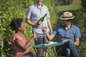 romantic, couple, tasting in the vines, Michigan Sparkling wine, Mawby