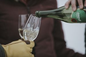 green, sparkling wine in glass, winter wine tasting